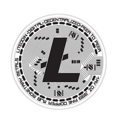 crypto currency litecoin black and white symbol vector image vector image