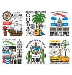 Cuba travel icons havana caribbean tourism vector