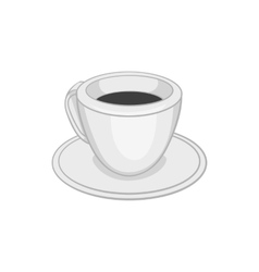 Cup of tea or coffee icon black monochrome style vector image