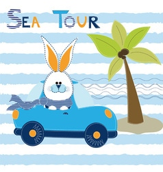 Cute Bunny at the car in sea tour vector