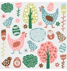 Cute colorful seamless easter spring vector