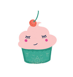 Cute cupcake with cherry flat vector