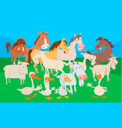 Cute farm animal cartoon characters group vector