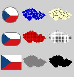 Czech republic map with the czech flag vector
