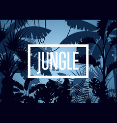 deep tropical jungle with palm leaves and trees vector image