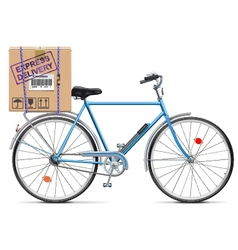 Delivery Bicycle with Carton Box vector