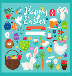 Easter colored icons vector