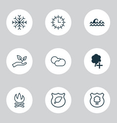 ecology icons set with cloudy weather plant tree vector image