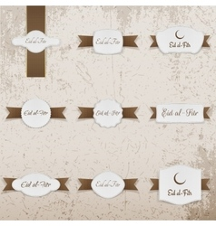 Eid al-Fitr greeting Labels Set vector image