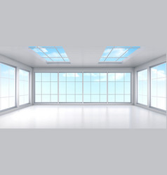 Empty office room interior with windows on ceiling vector