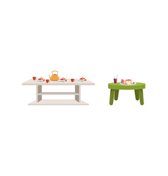 Festive tables with food dishes set table with vector