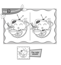 Find 9 differences game gift tv vector
