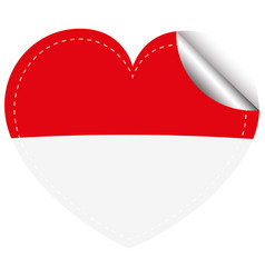 Flag icon design for indonesia in heart shape vector