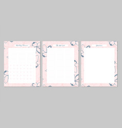 Floral monthly planner vector