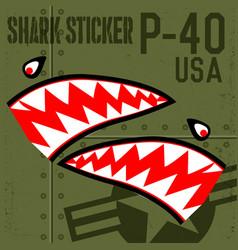 Flying tiger shark mouth p-40 sticker vinyl on vector