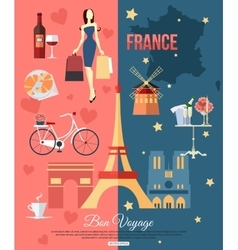 france travel background with place for text set vector image