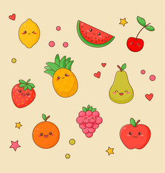 fruit food kawaii cute face set orange and apple vector image