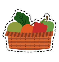 fruits and vegetables in basket icon image vector image
