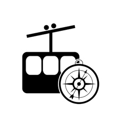 Funicular and compass icon vector