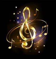 Golden musical key vector