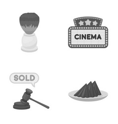 Hairdresser shopping and other monochrome icon in vector