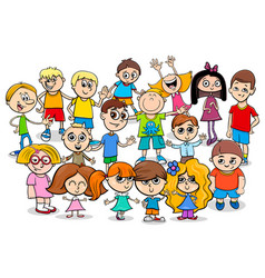 happy children cartoon characters group vector image