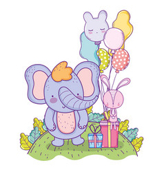 happy elephant birthday with balloons and presents vector image