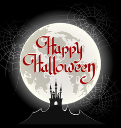 happy halloween poster drawn in retro style vector image