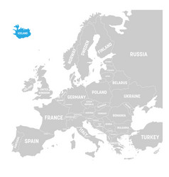 iceland marked by blue in grey political map of vector image