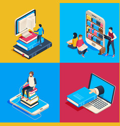 isometric online library students reading books vector image