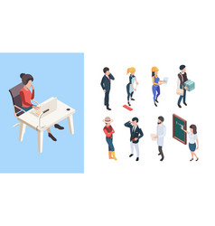 isometric professions 3d people service workers vector image