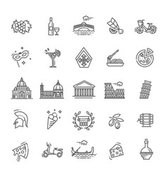 Italy icons set tourism and attractions thin vector