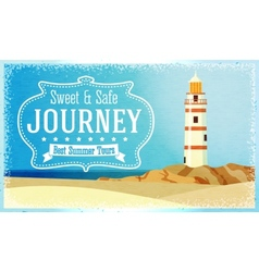 Journeys and tours advertisement with ocean beacon vector image