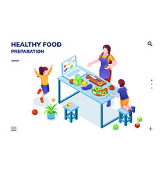 Kitchen with family cooking healthy vegan food vector