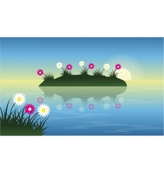 Landscape of flower on lake at spring vector