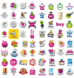 large set of logos market and discount vector image