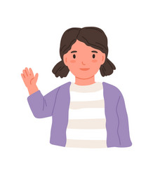little girl waving with hand and saying hi or bye vector image