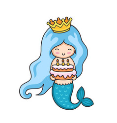 Little mermaid with birthday cake vector