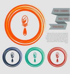 Mirror icon on the red blue green orange buttons vector