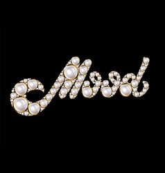 Mood hand drawn lettering pearls isolated vector