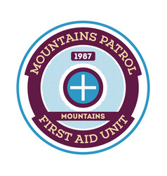Mountains patrol round label vector