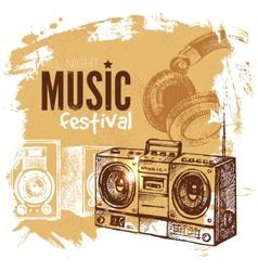 Music vintage background Splash blob retro design vector image