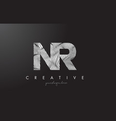nr n r letter logo with zebra lines texture vector image