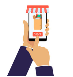 online grocery shop app on mobile phone internet vector image