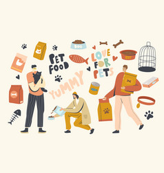 People buying food for pets male and female vector