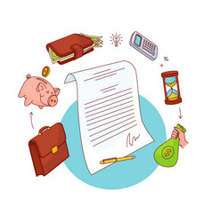 personal finance related objects around a document vector image