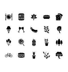 Picnic elements glyph icons vector