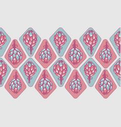 pink blue artichoke flower seamless border vector image