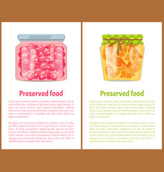 Preserved food poster currant berry jam and orange vector