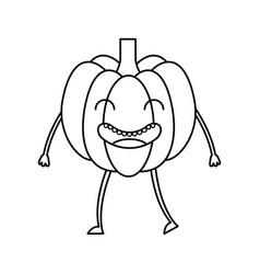 Pumpkin fresh vegetable kawaii character vector